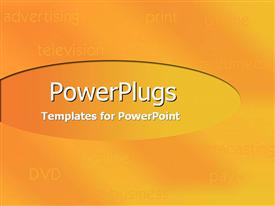 PowerPoint template displaying shades of orange and yellow with listing of media equipments