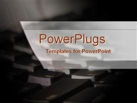 PowerPoint template displaying a keyboard in the background with place for text