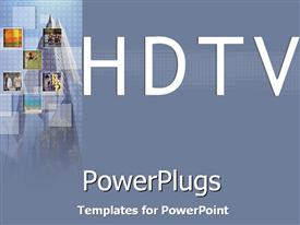 PowerPoint template displaying plain blue colored pane with HDTV text and some graphics
