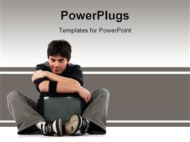 PowerPoint template displaying young man hugging television, mass media, advertising