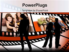 PowerPoint template displaying three black silhouettes looking at film rolls depicting young smiling people