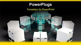 PowerPoint template displaying eight white colored media servers joined with arrows