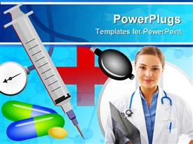 PowerPoint template displaying abstract medical background design with health related objects