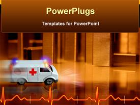 PowerPoint template displaying white colored ambulance driving speed toward hospital