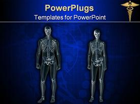 PowerPoint template displaying anatomically correct x-ray, x-ray of the human male body, man and woman