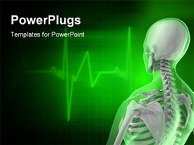 PowerPoint template displaying a human skeleton with greenish background