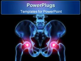 PowerPoint template displaying human pelvis with inflamed hip joints on black background