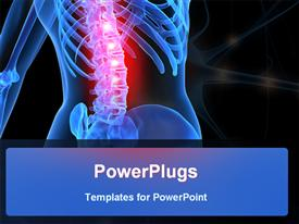 PowerPoint template displaying anatomy depiction of a human skeleton with backache