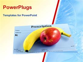 PowerPoint template displaying banana and apple over doctors prescription card