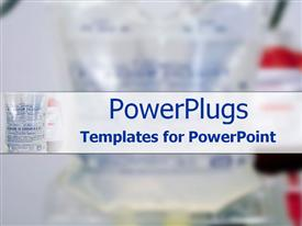 PowerPoint template displaying bag of Sodium Chloride in the background.
