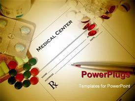 PowerPoint template displaying blank medical prescription with a different variety of colored pills surrounding it