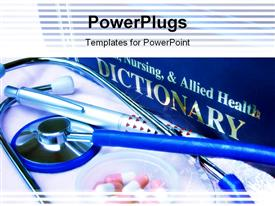 PowerPoint template displaying blue toned focus point on metal part of stethoscope