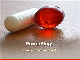 PowerPoint template displaying capsules and pills for medical uses
