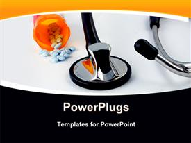 PowerPoint template displaying cardiac stethoscope and health care reform antiquity