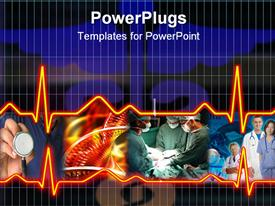 Cardiogram illustration with grid background. Health care powerpoint template