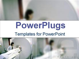 PowerPoint template displaying medical personnel preparing patient for scan