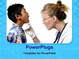 PowerPoint template displaying female doctor gives young boy a check up