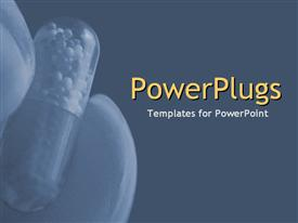 Close-up of hand holding drug capsule on blue powerpoint theme