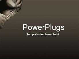 PowerPoint template displaying close-up of hands performing intricate operation in the background.