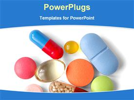 Close view of different medicines template for powerpoint
