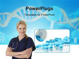 PowerPoint template displaying a lot of spilled blue pills and a nurse standing