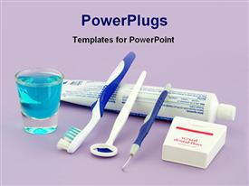 PowerPoint template displaying a beautiful depiction of toothpaste and toothbrushes along with dental tools
