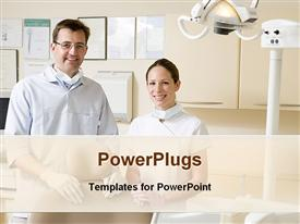 PowerPoint template displaying dentist and assistant smiling at the camera in dentist room with dentistry equipment