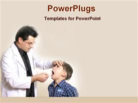 PowerPoint template displaying dentist examining child's teeth, oral health, dentistry, checkup
