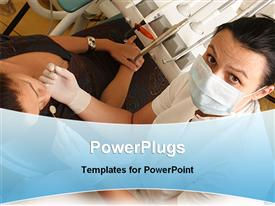PowerPoint template displaying a dentist working with the patient