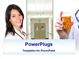 PowerPoint template displaying three tiles lady, door prescription bottle
