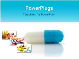 PowerPoint template displaying close-up of blue and white capsule with medicine pills images, medication, pharmaceuticals, health