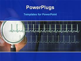 PowerPoint template displaying doctor checking pulse beat with stethoscope in the background.