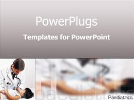 PowerPoint template displaying male doctor holds little girl's hand while listening with stethoscope