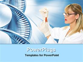 PowerPoint template displaying pretty female blond scientist holding a test tube and a DNA strand