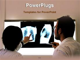PowerPoint template displaying two doctors examining x-ray report of patient on white background
