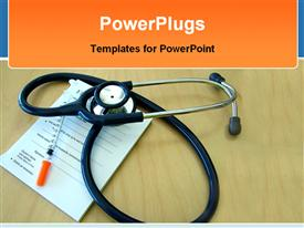 PowerPoint template displaying medical theme with stethoscope on prescription pad and syringe on wooden desk