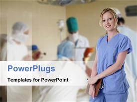 PowerPoint template displaying a nurse with surgeons in the background