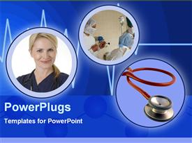 PowerPoint template displaying three tiles with surgeons in an operating room, a smiling lady and a stethoscope