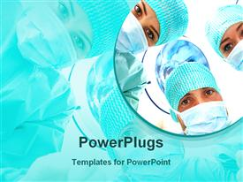 PowerPoint template displaying a group of surgeons with their reflection in the background
