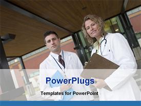 PowerPoint template displaying doctor woman man stethoscope, patients record file front hospital