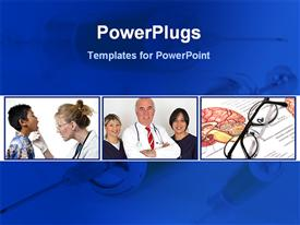Doctors team with medical solution template for powerpoint