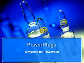 PowerPoint template displaying drug ampoules
