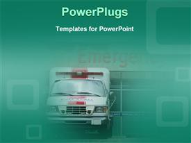 PowerPoint template displaying ambulance front emergency room doors