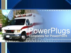 PowerPoint template displaying emergency truck