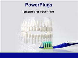 PowerPoint template displaying dental care equipment displayed on white background