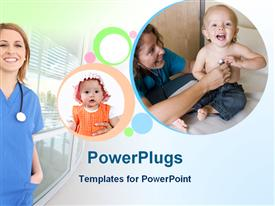 PowerPoint template displaying child health care with doctor nurse baby girl and toddler boy and stethoscope