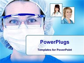 PowerPoint template displaying female surgeons in a hospital in the background.