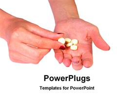 Few tablets in hand powerpoint template