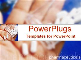 Hand holding prescription drugs with pharmaceuticals text presentation background