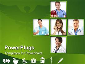 PowerPoint template displaying healthcare Background with medical themed design elements in green and white in the background.